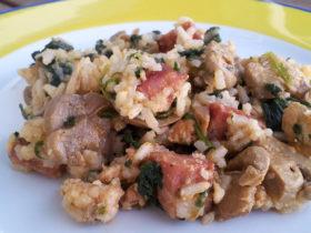 Receita fácil de receita de arroz de frango espinafres